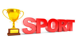 Golden Trophy and Sport Sign Stock Photography