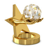 Golden trophy with star and hands vector illustration