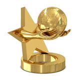 Golden trophy with star, hands and soccer ball Royalty Free Stock Photography