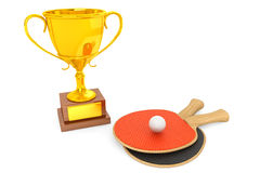 Golden Trophy and tennis racquets. On a white background Stock Image