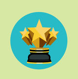 Golden trophy with three stars flat desoign Royalty Free Stock Images