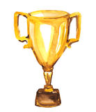 Golden trophy. Watercolor golden trophy on white Royalty Free Stock Photography