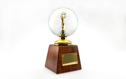 Golden trophy  on white Royalty Free Stock Images