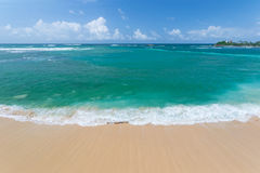 Golden tropical beach and blue green waving ocean Royalty Free Stock Photography