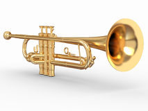 Golden trumpet. 3d. Golden trumpet on white isolated background. 3d vector illustration