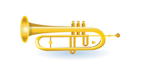 Golden trumpet illustration Stock Photography