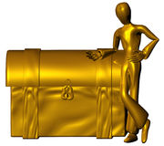 Golden trunk. 3d character with golden trunk isolated on a white background Royalty Free Stock Photography
