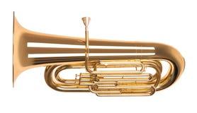 Golden tuba in hard light isolated on white Royalty Free Stock Photos
