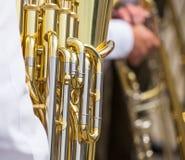 Golden tuba mechanism Royalty Free Stock Image