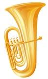 Golden tuba on white background Stock Photography