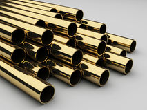 Golden tubes, 3d background Royalty Free Stock Photos