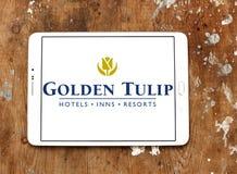 Golden Tulip hotels and resorts logo. Logo of Golden Tulip hotels and resorts on samsung tablet Stock Image