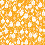 Golden tulips flowers seamless pattern background Stock Photo