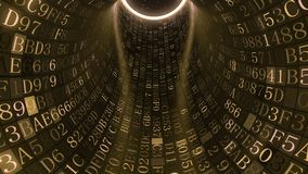 Golden tunnel made of hexadecimal symbols. IT related loopable motion background. Loopable golden tunnel made of hexadecimal symbols. Internet service stock footage