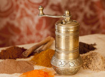 Golden Turkish spice mill Royalty Free Stock Images