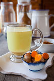 Golden turmeric milk royalty free stock photography