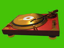 Golden turn table. 3d model of golden dj turn table with isolated background. You can set your own background. Use it as part of your own design. Sharp high Royalty Free Stock Images