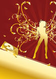Golden Turntabe Music Disco Party Flyer. Flier or poster in golden colors for your party Royalty Free Stock Photo