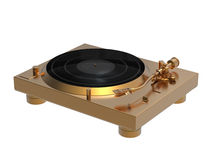 Golden turntable. 3D rendering of golden turntable isolated on white background Stock Photos