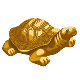 Golden turtle figurine with emerald eyes. Vector  icon Stock Images