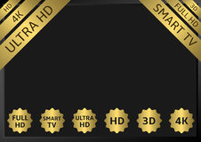 Golden TV labels. HD 3D 4K 5D 7D Full HD Smart TV Ultra HD stock illustration