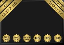 Golden TV labels Stock Image