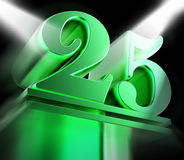 Golden Twenty Five On Pedestal Displays Twenty Fifth Movie Anniversary Or Celebration royalty free illustration
