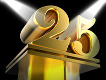 Golden Twenty Five On Pedestal Shows Twenty Royalty Free Stock Images