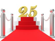 Golden Twenty Five On Red Carpet Means Movie Stock Images