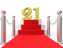 Golden Twenty One On Red Carpet Shows Stock Photo