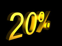 Golden twenty percent on black background 3d render. Sales financial concept Stock Photo