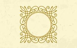 Golden twirl round luxury frame elegant design Royalty Free Stock Images