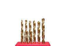 Golden twist drill bit Stock Image