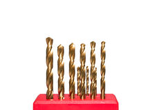 Golden twist drill bits Royalty Free Stock Image