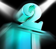 Golden Two On Pedestal Displays Recognition And Success Stock Image