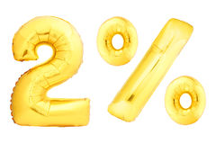 Golden two percent made of inflatable balloons. Isolated on white background. One of full percentage set Stock Image