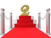 Golden Two On Red Carpet Shows Movies Awards Royalty Free Stock Images