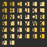 Golden type-squares. Illustration of golden type and numbers fitted in squares Royalty Free Stock Images