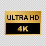 Ultra HD label. Golden Ultra HD label. Modern technology signs Royalty Free Stock Photo
