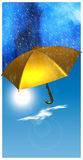 Golden umbrella Stock Photography