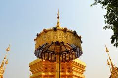 Golden umbrella, Buddhist Wat temple in Chiang Mai Royalty Free Stock Image