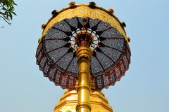 Golden umbrella, Buddhist Wat temple in Chiang Mai Stock Images
