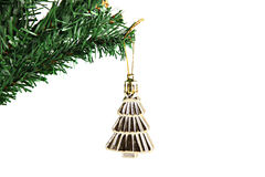 Golden umbrella hanging on branch Christmas tree. Stock Images