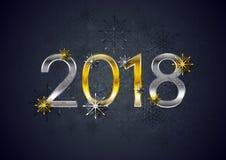 Golden und versilbern Sie einen 2018-Neujahrsfeiertag-Hintergrund Lizenzfreies Stockbild