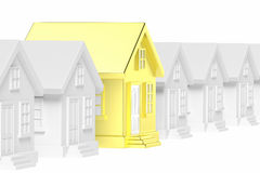 Golden unique house in row of houses. Royalty Free Stock Photos