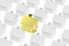 Golden unique house standing out from crowd of gray houses. Royalty Free Stock Image
