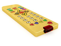 Golden universal remote control with gems buttons Stock Photos