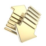 Golden up and down arrow glossy arrow icon emblem Royalty Free Stock Photos