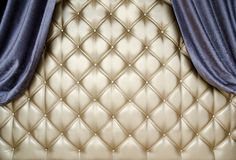 Golden upholstery velvet curtain background Royalty Free Stock Photography
