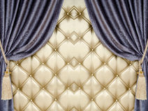 Golden upholstery velvet curtain background Stock Images